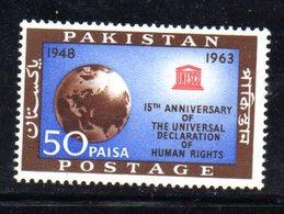 APR1766 - PAKISTAN 1963 , Serie Yvert N. 200   ***  MNH  (2380A)  Human Right Unesco - Pakistan
