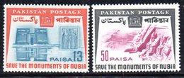 APR1768 - PAKISTAN 1964 , Serie Yvert N. 202/203   ***  MNH  (2380A)  Nubia Unesco - Pakistan