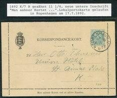 1892 Denmark 4ore Lettercard Stationery Korrespondence Kort (Ringstrom 7AA) Copenhagen - Lettere