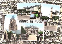 CPSM DE ORBEC EN AUGE L'EGLISE LA PLACE JOFFRE L'HOTEL DE VILLE LE MONUMENT AUX MORTS - Orbec