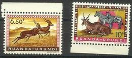 Ruanda-Urundi - 1959 Fauna 6f50 & 10f MNH **    SG 212 & 214  Sc 146 & 148 - 1948-61: Mint/hinged