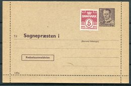 1956 Denmark 25ore (+5ore Stamp) Mint Lettercard Stationery 149x Form 1013 Sognepraesten Anmeldelse. Birth Registration - Interi Postali
