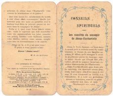 CONSEILS SPIRITUELS LES SUAVITES SOUVENIR DE JESUS EUCHARISTIE IMAGE PIEUSE RELIGIEUSE  HOLY CARD SANTINI HEILIG PRENTJE - Imágenes Religiosas