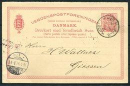 1891 Denmark Stationery Reply Postcard. Kjobenhavns Philatelist Klub KPK. Copenhagen - Giessen - 1864-04 (Christian IX)