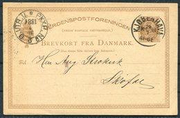 1884 Denmark Stationery Postcard. Emil Jensen Copenhagen Merchant Advertising. PKXP Railway - 1864-04 (Christian IX)