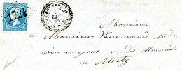 GROS-TENQUIN BOITE MOBILE. Lettre Sans Contenu. Napoléon à 20 C Bleu (YT N° 22) GC 1724 Daté Du 09/12/1863 - 1862 Napoleon III