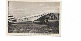 LIGNE  PARIS COLOGNE BERLIN  JUNKERS - Airplanes