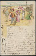 Ansichtskarte Strand Jugendstil Vorläufer Handkoloriert 1896 Blankenberghe  - Belgien