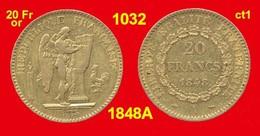 20 Francs Or France 1032 De 1848A TTB+ (ct1) Génie, 900 ‰ 6,45 Gr Tirage 1 543 091 - Oro