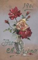 AL64 Greetings - 1906, From A Friend - Flowers, Glitter - New Year