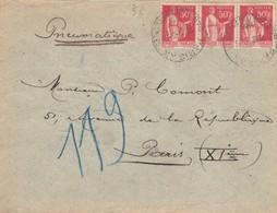 LETTRE 1935. PNEUMATIQUE 1,50Fr.  RUE DES PYRENNEES POUR XI°. R. DE LA DOUANE, Bd RICHARD-LENOIR - 1921-1960: Moderne