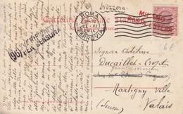 CARTOLINA 10c. 1916. ROMA FERROVIA CERTIFICATO PER CENSURA.  MILANO POSTA ESTERA MARTIGNY-VILLE VALAIS SUISSE - 1900-44 Vittorio Emanuele III