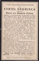 Oorlogsslachtoffer, 1918, Cyriel Degrieck, Pollet, Kortemark, Maria-Aalter, Maria-Aeltre - Images Religieuses