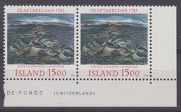 Iceland 1983 Skaftareldar Euruption 1v (pair, Corner) ** Mnh (43489A) - 1944-... Republiek