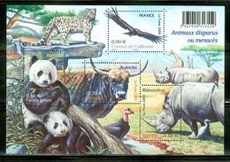 Panda + Aurochs + Condor + Rhinocéros. La Poste 2009. Feuillet Neuf Sans Charnière. (1585) - Neufs