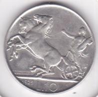 Italie. 10 Lire Biga 1929 Rome, 2 Rosette.(**FERT**) Vittorio Emanuele III, En Argent - 1900-1946 : Victor Emmanuel III & Umberto II