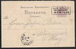 1883 - DR - Gz P13 Antwortteil Schiffspost - WOLLIN Per Dampfschiff Nach Wernigerode - Deutschland