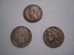 3 Pièces De 1F TB En Argent 1825, 1866 Et 1887 En Argent - Francia