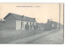 CPA 50 Champeaux La Gare Et Le Train Tramway - France