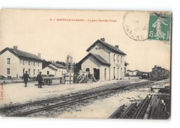 CPA 50 Donville Les Bains La Gare Et Le Train Tramway - France