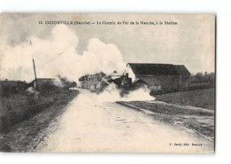 CPA 50 Coudreville La Station La Gare Et Le Train Tramway - France
