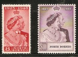 NORTH BORNEO 1948 SILVER WEDDING SET SG 350/351 LIGHTLY MOUNTED MINT Cat £32+ - Nordborneo (...-1963)