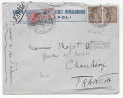ITALIA - 1922 - VARIETE PIQUAGE DECALE Sur ENVELOPPE EXPRES De NAPOLI => CHAMBERY - Storia Postale
