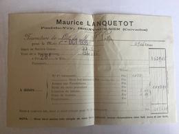 Isigny Sur Mer.pont De Vey.maurice Lanquetot .facture De Lait 1938 - Elevage