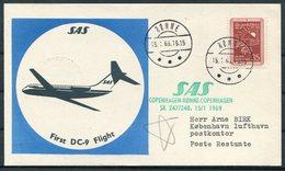 1969 Denmark SAS First Flight Cards(2) Ronne / Copenhagen. SLANIA - Airmail