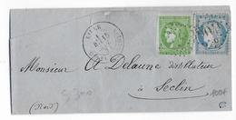 SEPT 1871 - AFFRANCHISSEMENT MIXTE BORDEAUX (SUP) / SIEGE - LETTRE De LILLE (NORD) => SECLIN - Marcofilia (sobres)