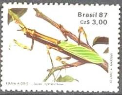 "BRAZIL #2107  -  MANTIS  -  INSECT  ENTOMOLOGICAL SOCIETY  - "" LOUVA-A-DEUS""  1987 - Brazil"