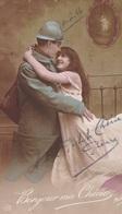 """MILITARIA. GUERRE14-18 PATRIOTIQUE. COUPLE. """" BONJOUR MA CHÉRIE """". TEXTE DU 4 AVRIL 1916 - Patriotiques"""