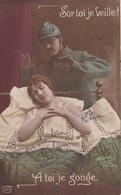 """MILITARIA. GUERRE14-18 PATRIOTIQUE. COUPLE  """" SUR TOI JE VEILLE. A TOI JE SONGE """". TEXTE DU 24 FÉVRIER 1916 - Patriotiques"""