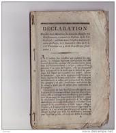DECLARATION DES DIX-HUIT MEMBRES Du Concile .... 1801 ... ( H. Grégoire, Eglise Constitutionnelle, Gallicanisme, ... - Books, Magazines, Comics
