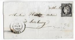 1849 - 20c CERES Sur LETTRE De DIEUZE (MOSELLE) Avec GRILLE IND 16 => SARREBOURG - Marcofilie (Brieven)