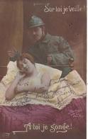 """MILITARIA. GUERRE14-18 PATRIOTIQUE. COUPLE  """" SUR TOI JE VEILLE. A TOI JE SONGE """". TEXTE DU 23 FÉVRIER 1916 - Patriotiques"""