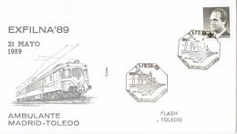 33414. Carta Exposicion EXFILNA 89, Ambulante Ferrocarril Madrid - Toledo  1989 - 1931-Hoy: 2ª República - ... Juan Carlos I