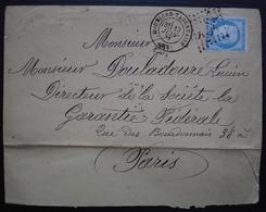Moutiers-Tarentaise 1874 GC 2572 (Savoie)  Lettre Pour Paris - 1849-1876: Classic Period