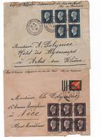 1945/47- Marianne De Dulac - 2 Enveloppes S/  Corr. ( 40 Cts X 5 - Et 70 Cts X 6 + Complèment)   AIX A NICE - 1944-45 Marianne De Dulac