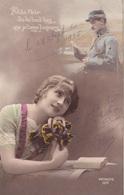 """MILITARIA. GUERRE14-18 PATRIOTIQUE. JEUNE FEMME  """" PETITE FLEUR. DIS LUI TOUT BAS... """". TEXTE DU 25 SEPTEMBRE 1915 - Patriotiques"""