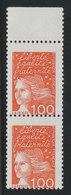 YT 3089 **  1,00F Orange Luquet, Paire Verticale Bdf, Piquage à Cheval - Variétés Et Curiosités