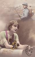 """MILITARIA. GUERRE14-18 PATRIOTIQUE. JEUNE FEMME  """" A CELUI QUE JE N'OUBLIE JAMAIS... """". TEXTE DU 23 SEPTEMBRE 1915 - Patriotiques"""