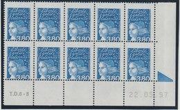 YT 3093 **  3,80F Bleu Marianne De Luquet, Coin Daté De 10 TP, Piquage à Cheval, R, SUP - Variétés Et Curiosités