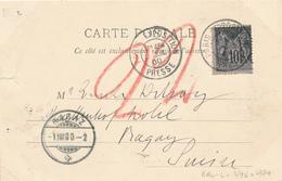 025/29 - FRANCE Carte-Vue TP Sage PARIS EXPOSITION PRESSE 1900 Vers BAGAZ Suisse - 1876-1898 Sage (Type II)