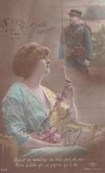 """MILITARIA. GUERRE14-18 PATRIOTIQUE. JEUNE FEMME  """" QUAND TU RECEVRAS CE DOUX MOT DE MOI... """". TEXTE DU 29 JUIN 1915 - Patriotiques"""