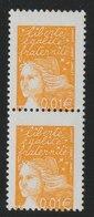 YT 3443 **  0,01€ Jaune Luquet, Paire Verticale, Piquage à Cheval Sur Le Cadre Inférieur, TB - Plaatfouten En Curiosa