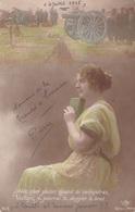 """MILITARIA. GUERRE14-18 PATRIOTIQUE. JEUNE FEMME  """" AVEC QUEL PLAISIR QUAND TU REVIENDRAS .. """". TEXTE DU 1er JUILLET 1915 - Patriotiques"""