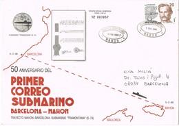 33419. Carta Correo Submarino MAHON (Baleares) A BARCELONA 1988. Llegada Dorso Y Lineal PAQUEBOT - 1931-Hoy: 2ª República - ... Juan Carlos I