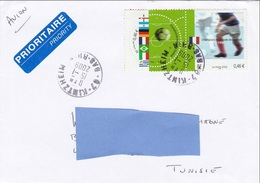 Z] Enveloppe Cover France Football Soccer France 98 Se-Tenant Gutter Pair Timbre Rond Round Stamp - Football