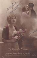 """MILITARIA. GUERRE14-18 PATRIOTIQUE. 2 CARTES.JEUNE FEMME  """" LE RÊVE DU BAISER.. """".TEXTE  DES 16 ET 18/11/ 1915 - Patriotiques"""